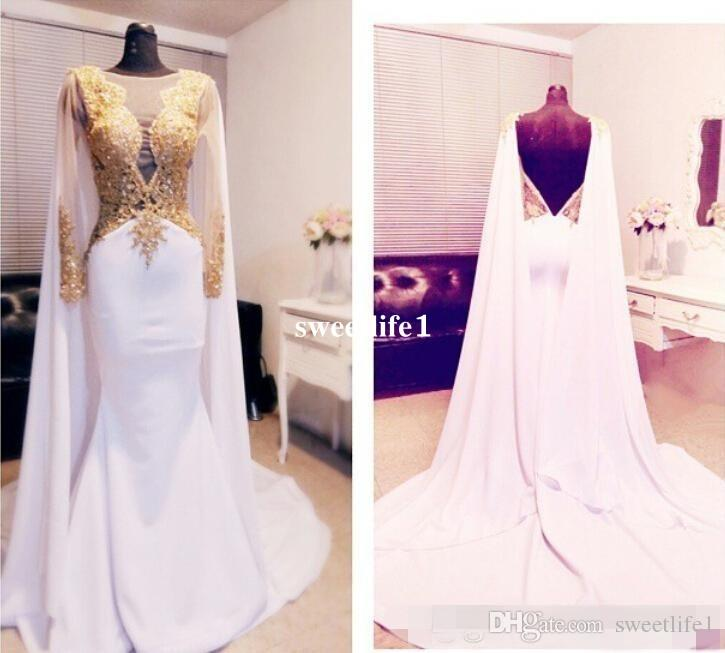 Elegant Arabic Beaded Gold Appliques Prom Dresses Long Sleeve With Cape Backless Formal Evening Gowns 2019 Kftan Red Carpet Party Dress