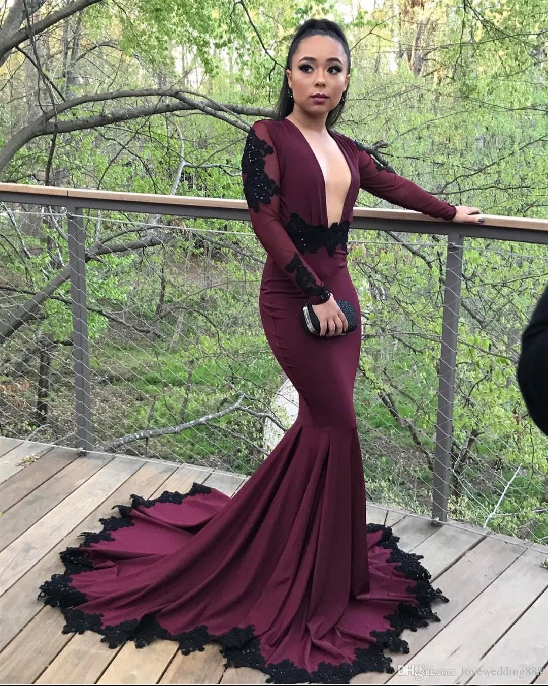 Sexy Borgonha Profundo Decote Em V Mangas Compridas Vestidos de Noite Sereia Spandex Prom Vestidos 2017 Recorte Preto Applique Vestido