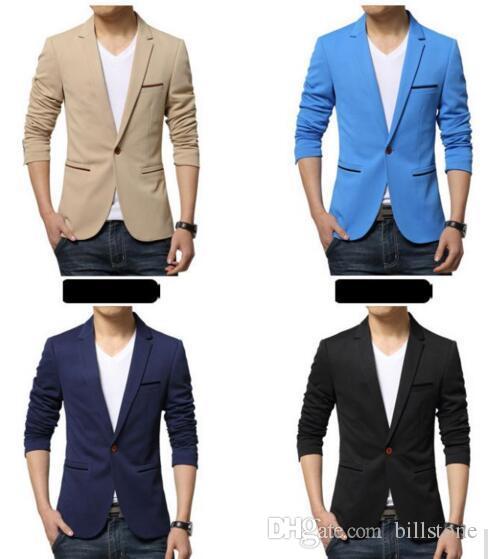 Erkek Kore slim fit moda pamuk blazer Takım Elbise Ceket siyah mavi bej artı boyutu Erkek blazers Erkek ceket Düğün elbise