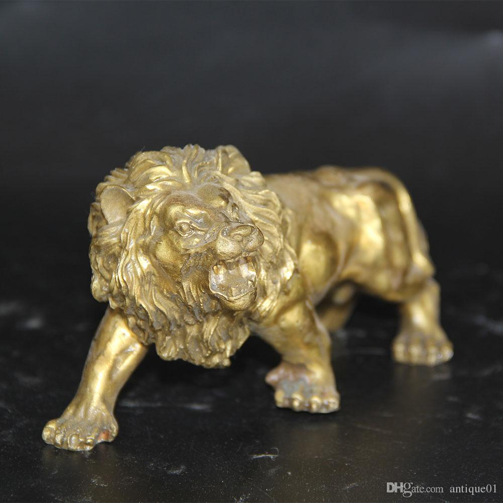 Lucky fole Carving Brass Fierce Lions Animali selvatici Figura Statua decorazione della casa