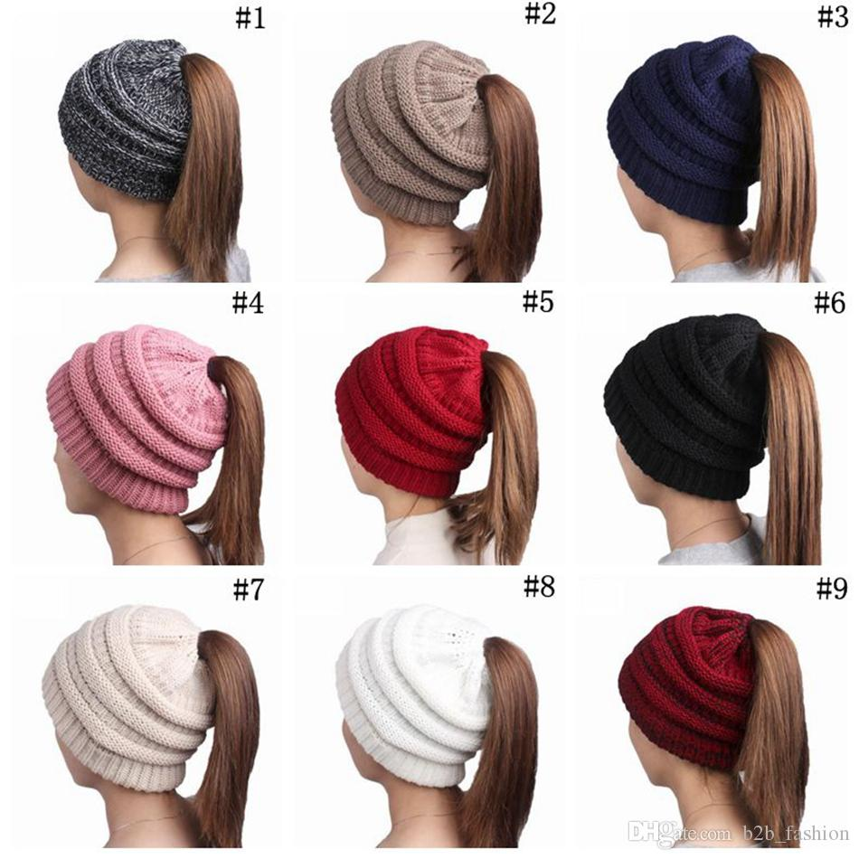 c0533fb24f2b8 Horsetail Hats Chunky Skull Caps Winter Beanie Cable Knitted Hats ...