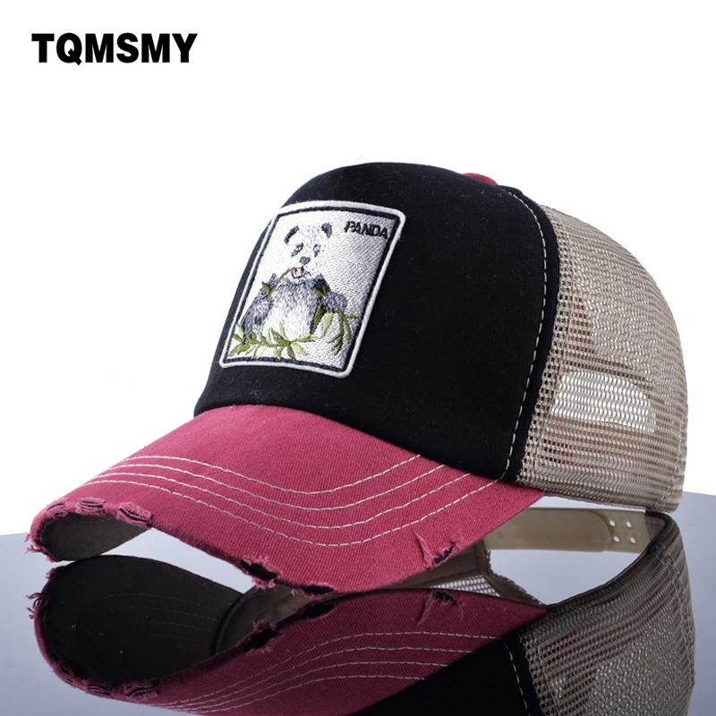Wholesale- TQMSMY Unisex Patch Bones men Hip Hop Hats Breathable Mesh Baseball Caps Women Embroidery panda Snapback caps Summer Gorras
