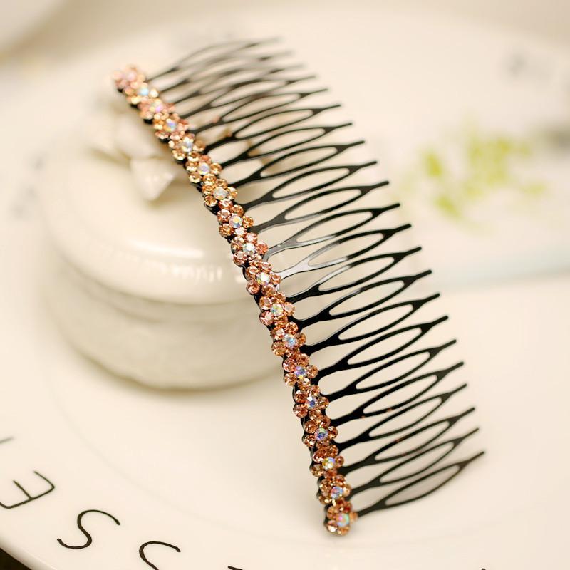 Женщина головной убор волосы красочные плед ювелирные изделия расческа Расческа волосы челка корейский имитация алмаз с зуб клип S0053