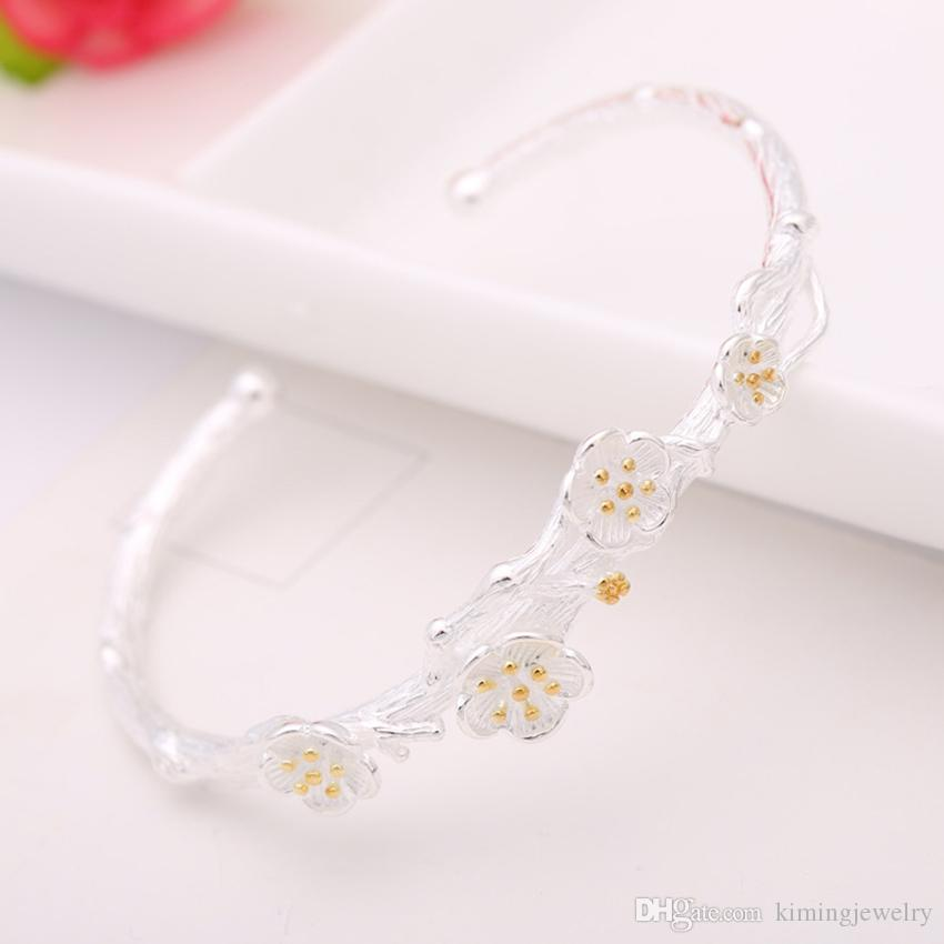 Real Pure 925 Sterling Silver Bangles Cuff Vintage Flower Bangles & Bracelets Women Statement Accessories