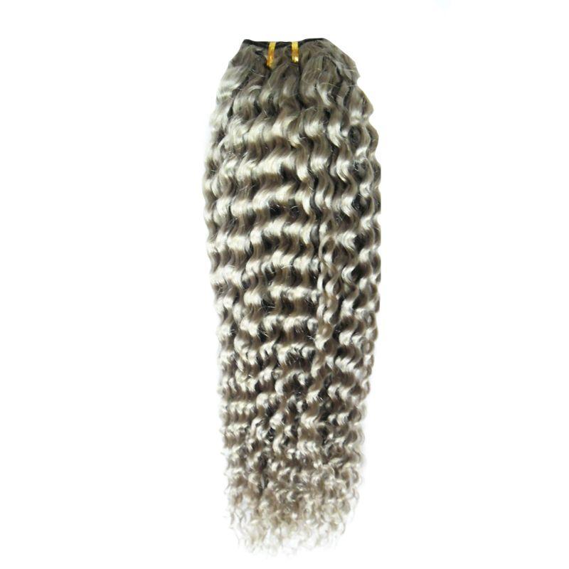 Cinza weave brasileiro crespo encaracolado hari Cinza Prata Cabelo Humano Weave 100g brasileiro kinky curly virgem extensões de cabelo cinza