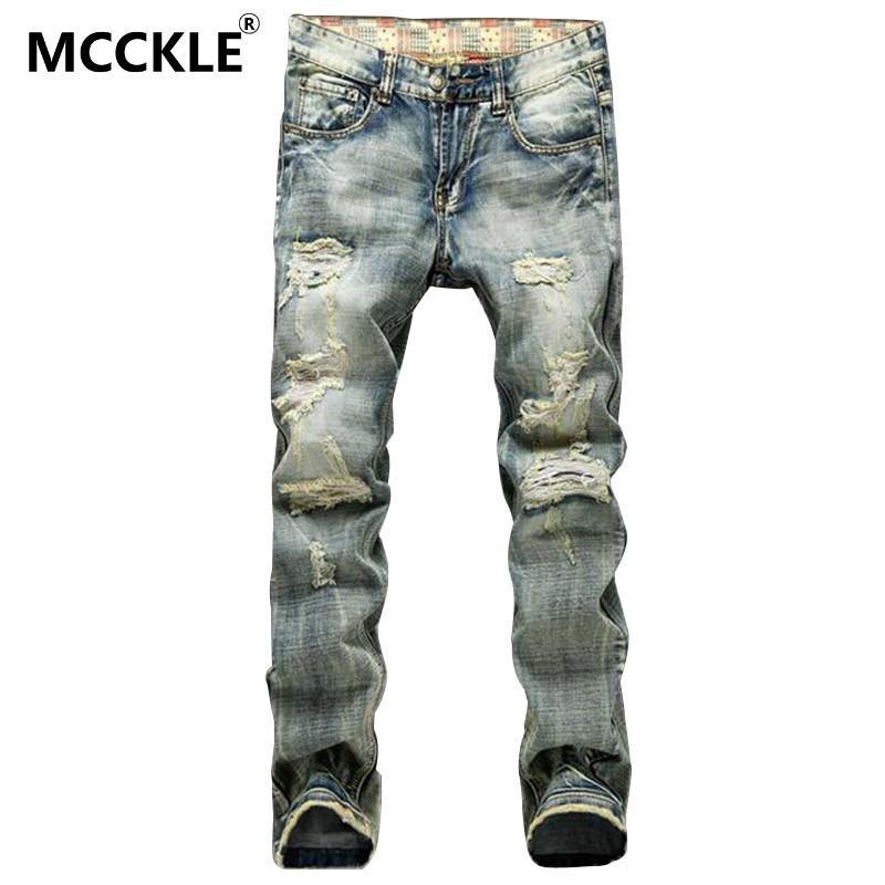 4ed868b8a08 Wholesale-Vintage Mens Ripped Jeans Pants Slim Fit Distressed Denim ...