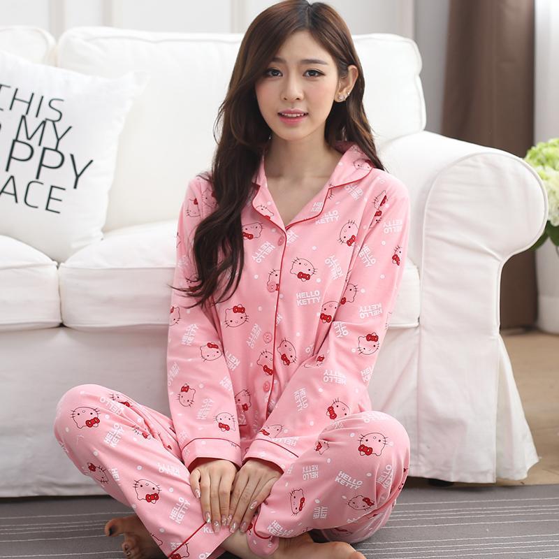 2019 Wholesale 2017 New Women Hello Kitty Printed Cotton Sweatshirts   Sets  Lapel Cardigan Sleepwear 47f1a69669