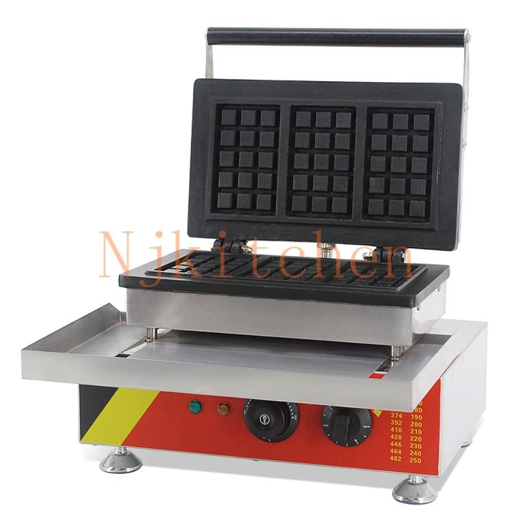 Commercial Use Non-stick 110v 220v Electric Rectangle American Waffle Maker Machine Iron Baker Mold Plate Making Pan