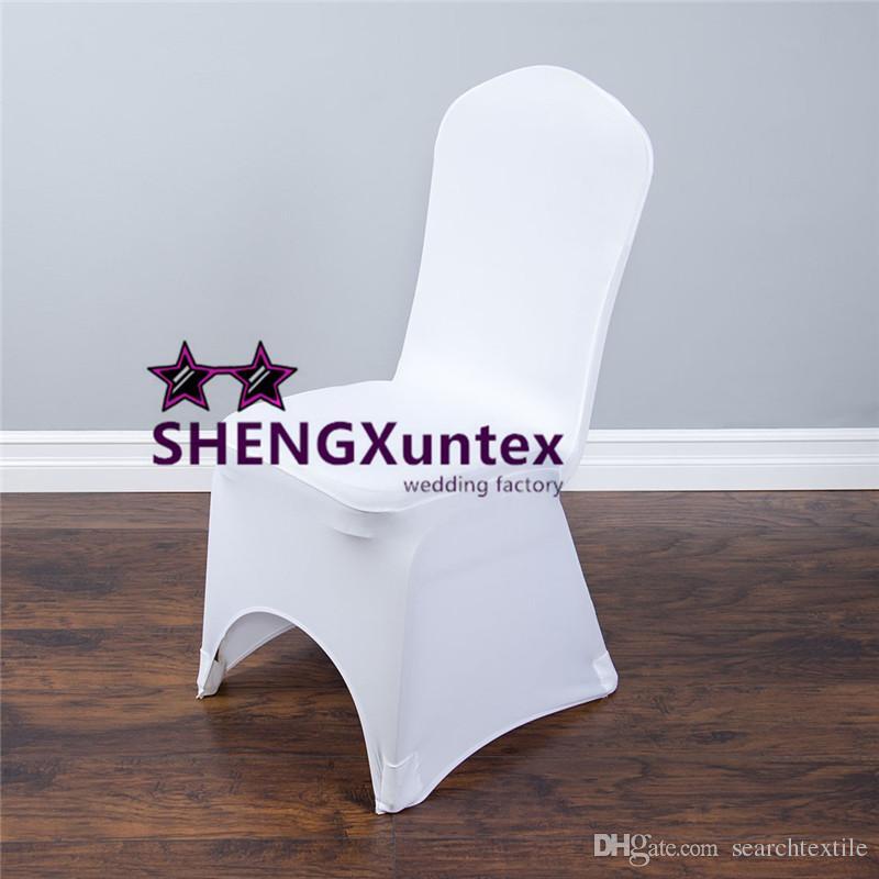 Weiß Farbe Günstige Strech Lycra Spandex-Stuhl-Abdeckung mit starken Tasche für Hochzeit