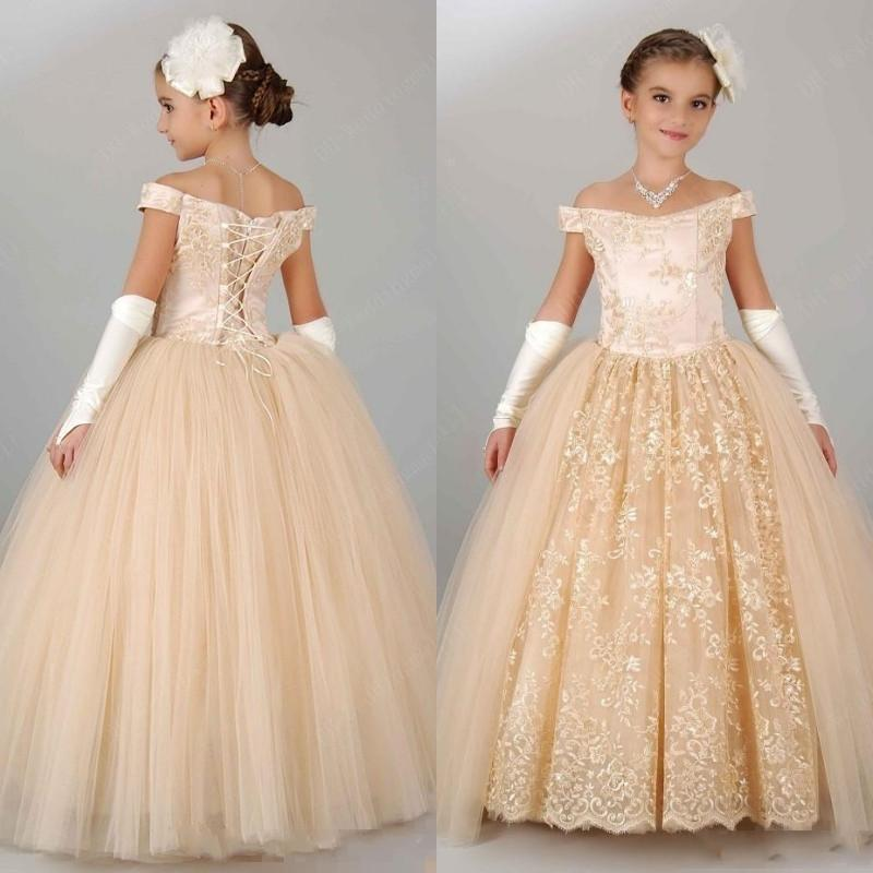 f37d81872aa 2017 New Vintage Flower Girls Dresses For Wedding Off Shoulder Lace  Champagne Princess Party Children For Birthday Cheap Girl Pageant Gowns  Teal Flower Girl ...