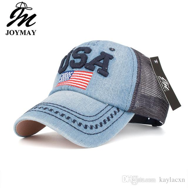 2f58d064a39 Joymay Brand Summer Mesh Baseball Cap For Men And Women American Flag  Embroidery Adjustable Fashion Leisure Casual Vintag Snapback Hat B445 Kids Hats  Ball ...