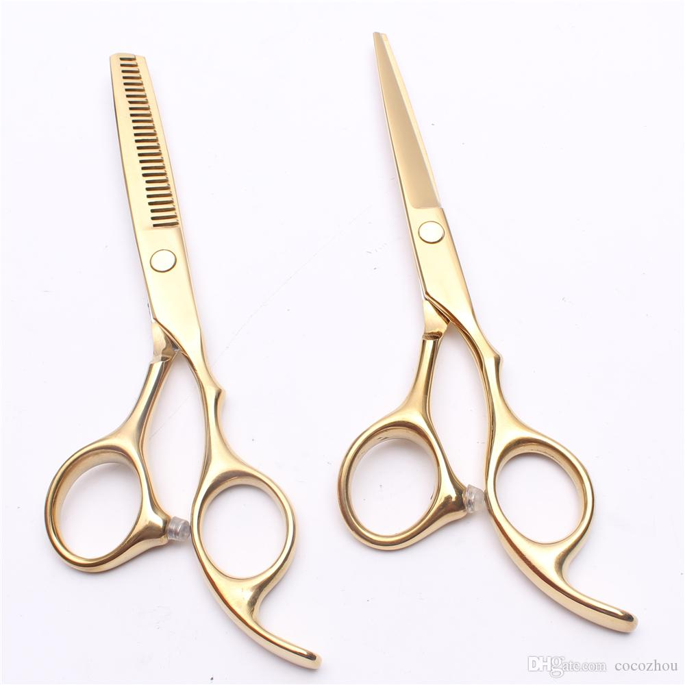 C1005 5.5'' 16cm Customized Logo Gold Hairdressing Scissors Factory Price Cutting Scissors Thinning Shears Professional Human Hair Scissors