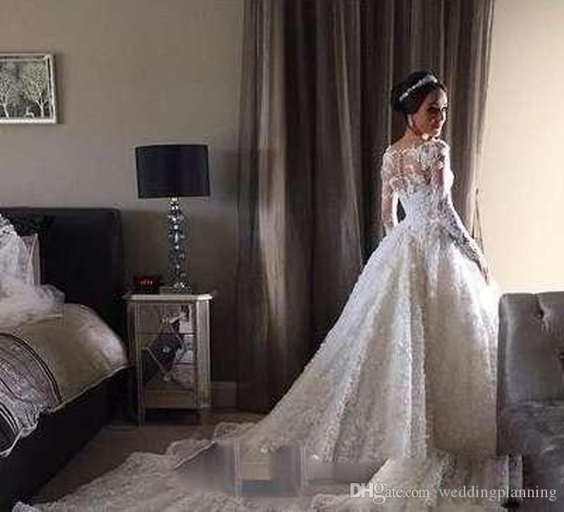 Vintage Modest Wedding Dresses Sheer Cheap lace long sleeve beaded lace illusion Vestido de noiva buttons Bridal Gowns Plus Size Custom made