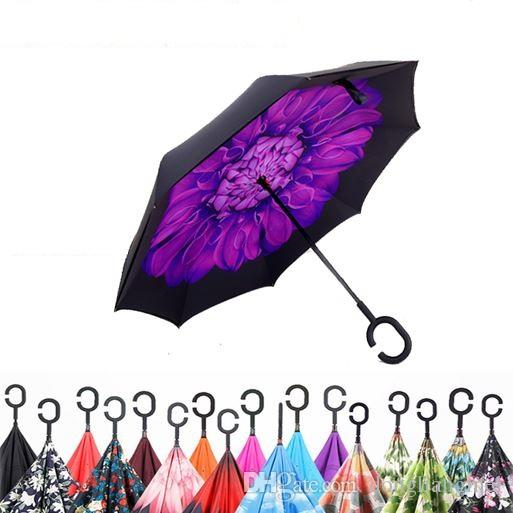 Inverted Umbrella Double Layer Reverse Rainy Sunny Umbrella with C Handle J Handle Self Standing Inside Out Special Design h111