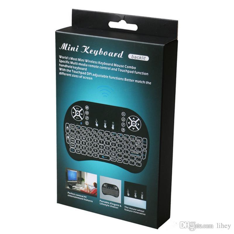 I8 Arka Işık Mini Kablosuz Klavye Arkadan Aydınlatmalı Fly Hava Mouse Uzaktan Kumanda Touchpad Android TV için El Şarj Edilebilir Lityum Pil
