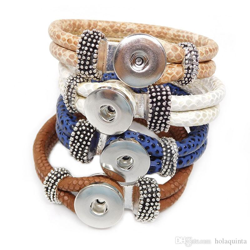 A891 Noosa chunks bracelet wholesale ginger snap button leather bracelet jewelry