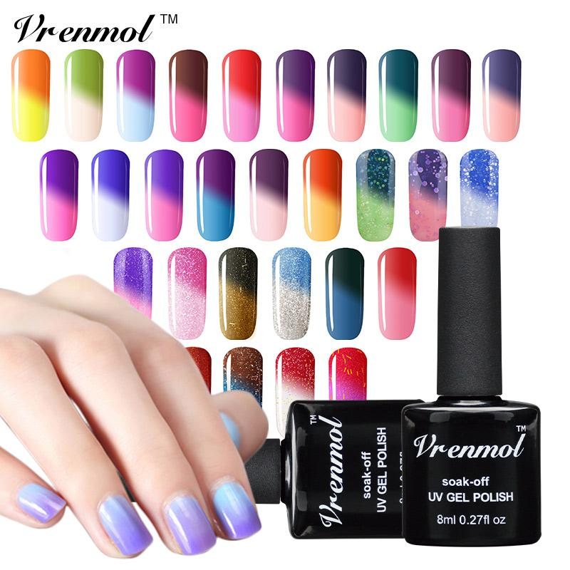 Wholesale- Vrenmol 1Pcs Color Mood Changing Thermo Gel Polish UV/LED Lamp Colored Temperature Polish Nail Chameleonic Color Coat