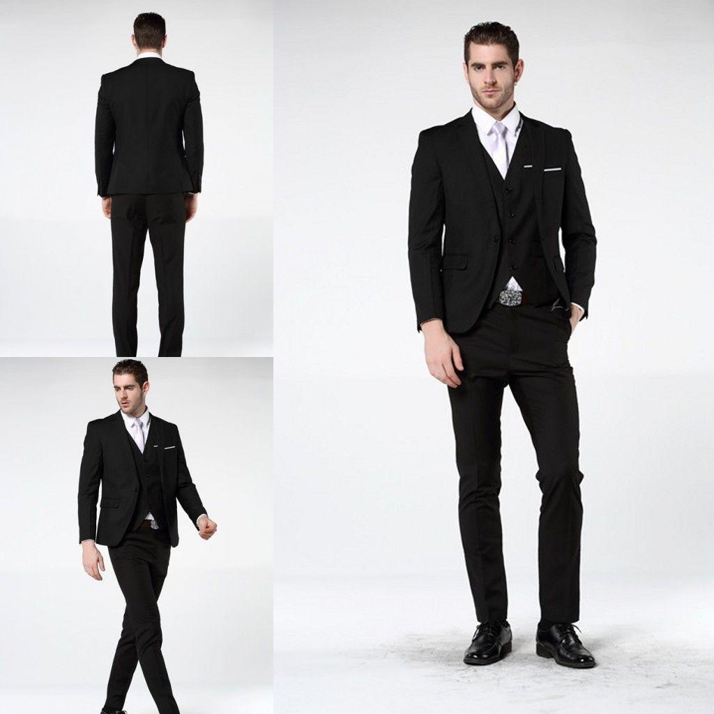 2018 Newest Three Piece Men\'s Wedding Suit Slim Fit Black Fashion ...