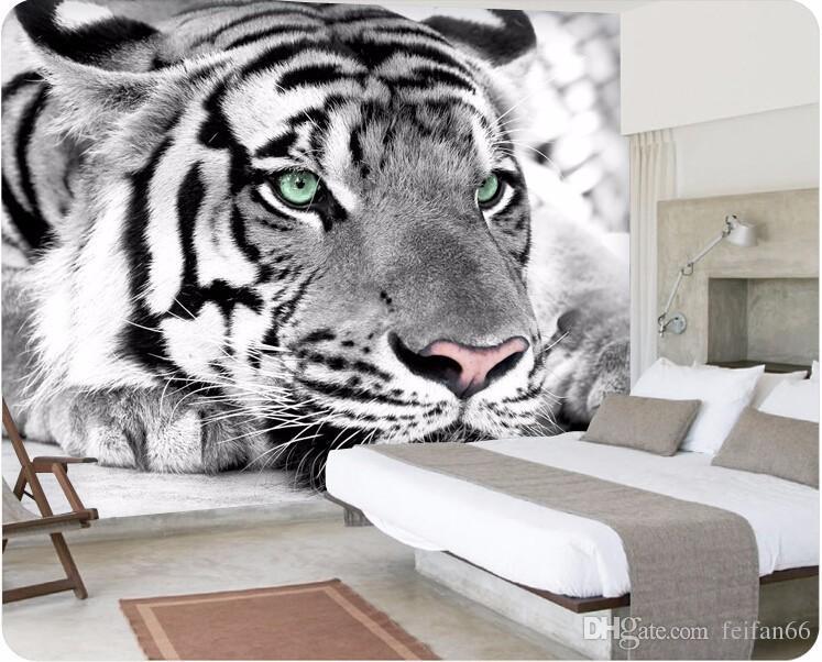 Acheter Photo Papier Peint Tigre Noir Et Blanc Animaux Murales