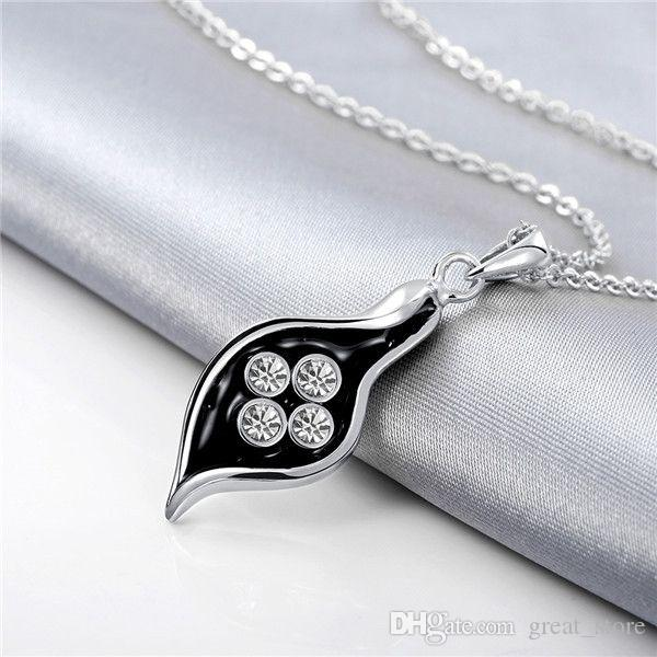 New arrival Leaves 18k gold jewelry necklace fit women GGN907,Yellow Gold White gemstone Pendant Necklaces with chains