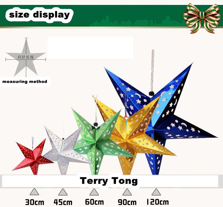 Decation 장식 레이저 들어 입체 다섯개 스타 천장 교수형 크리스마스 종이 Pentastar 창 드레싱