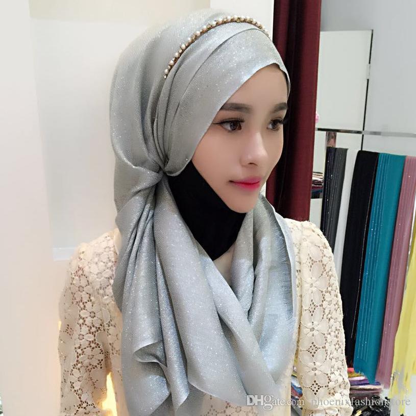 b4daf06536ae Acheter Nouveau   Bandanas Musulmans Or Coton Longue Serviette Style  National Écharpe Musulmane Hijab Écharpe Islamique Musulman Foulard WJ 001  De  5.03 Du ...