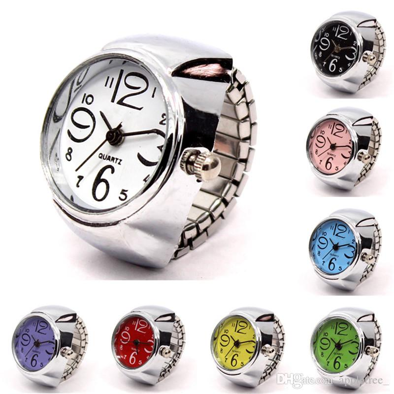 99acca80ed1c Quartz Finger Ring Watch for Women Men Elastic Band Dial Analog ...