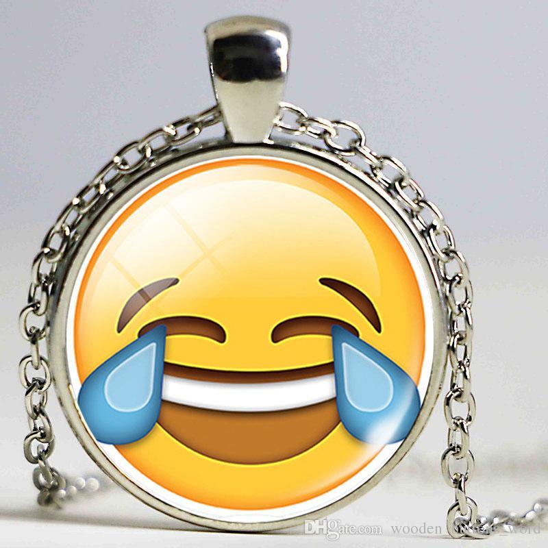 Grosshandel Versilbert Ausdruck Emoji Glas Cabochon Halskette Fur