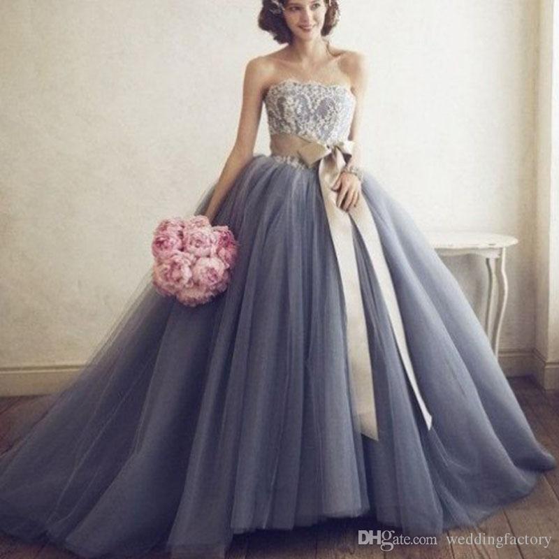 Compre 2017 Impresionantes Vestidos De Boda De Color Por Encargo ...