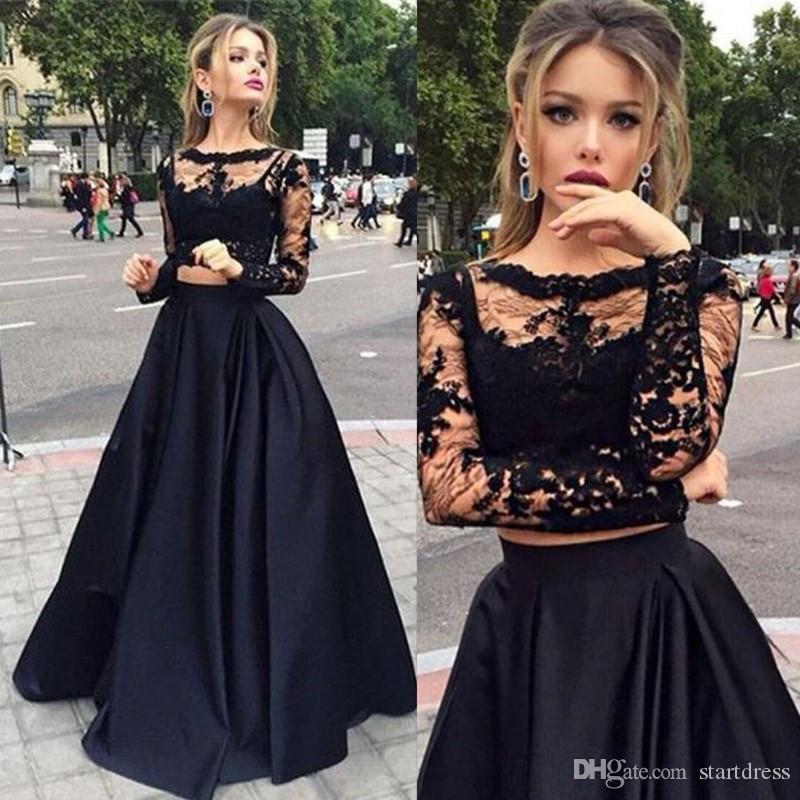 Elegante negro de dos piezas de baile vestidos Sexy Lace Sheer cuello vestido de noche una línea de manga larga vestidos formales desgaste de la tarde Vestidos largos Fest