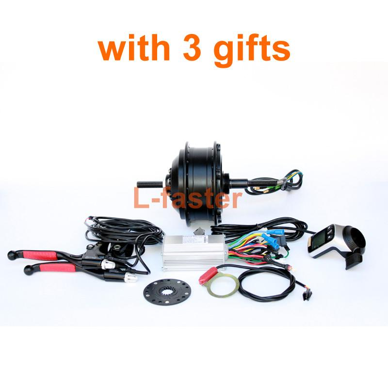 250W Brushless Hub Motor Electric Bike Conversion Kit Electric Bicycle Rear Wheel Motor PAS Wuxing LCD Display Thumb Throttle