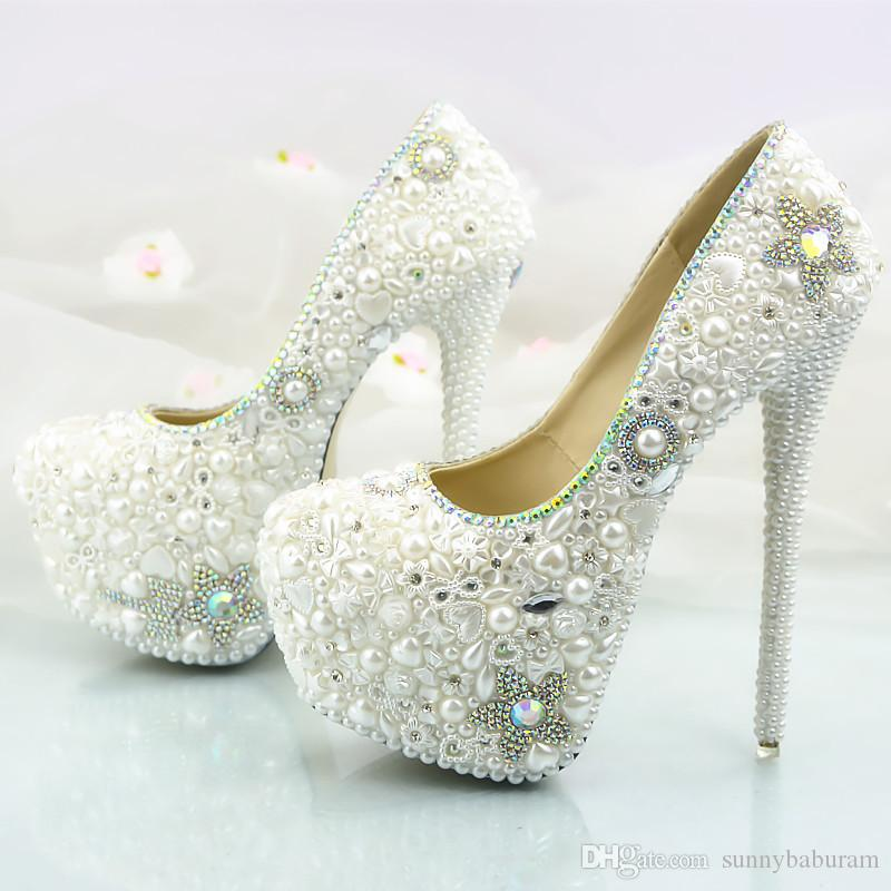 ee8b1d1b4dd4 Wholesale Fashion Pearls Crystals Bridal Bridesmaid Wedding Shoes 2017 Prom  Evening Party High Heels Hand-made Plus Size Wholesale Cinderella Shoes  Pearls ...