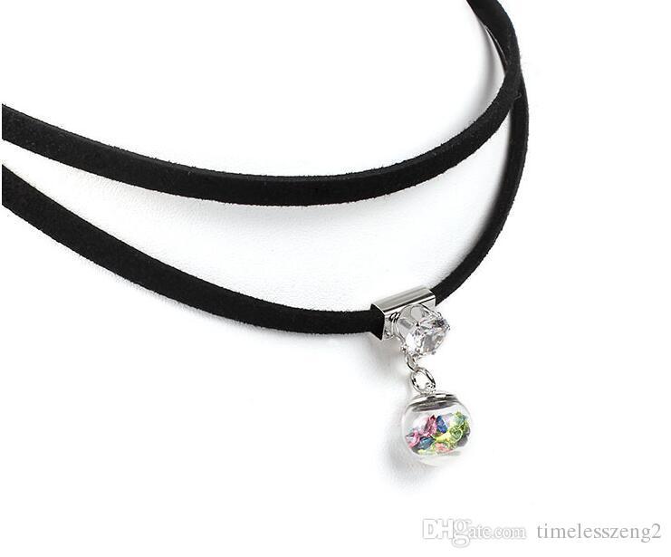 Горячий продавать красочное желая бутылки ожерелье бархат двойной чокеры циркона Длина ожерелья 21 до 50 см