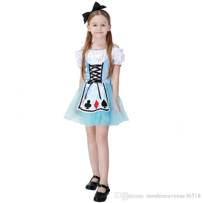 bfc4c3d73bd6e New Arrival Girls Halloween Cosplay Costumes Blue Fantasy Wonderland Alice  Princess Dresses Stage Performance Clothing Hot Selling Halloween Costume  ...