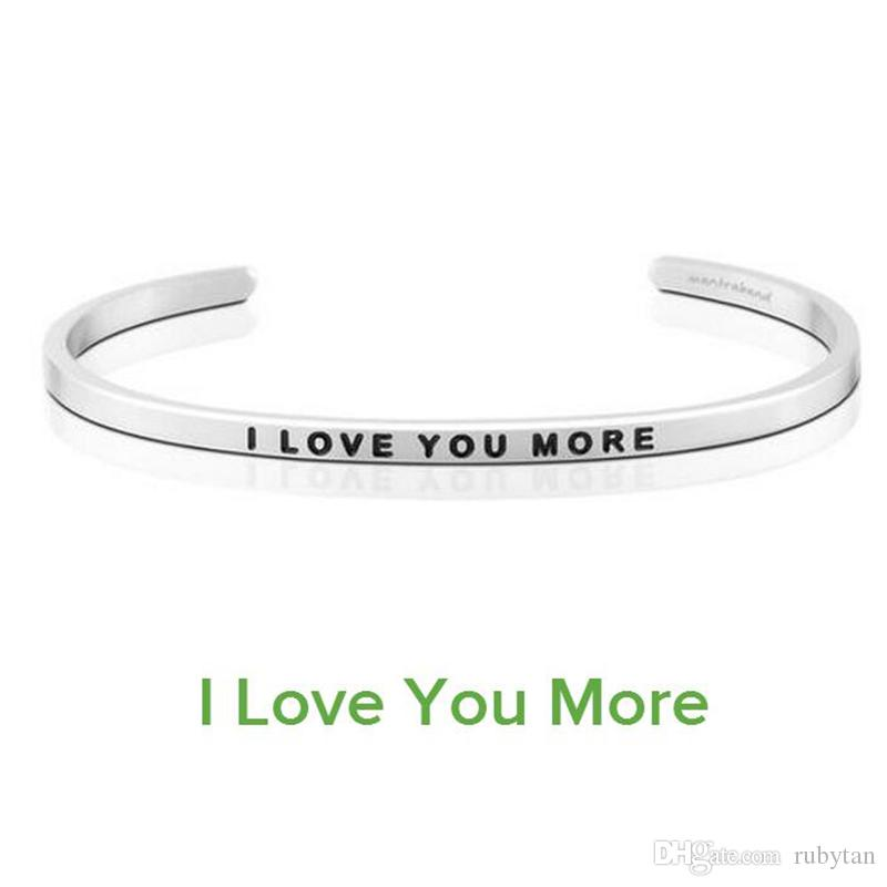 "Hot Sale Love Bangle Fashion Women Cuff Bangle Letter ""I LOVE YOU MORE "" Stamped Stainless Steel Engraved Bangle"