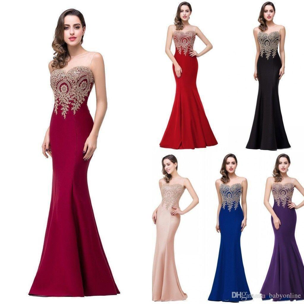2018 Cheap Evening Dresses Jewel Sleeves Floor Length Lavender Pink ...