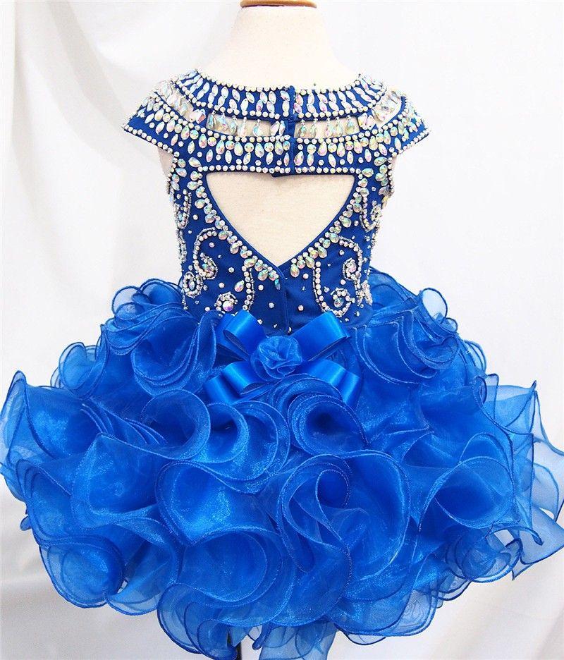 2017 new Royal Blue Color Organza Flower Girl Girls Pageant Dresses Infant Toddler Baby Dresses Custom