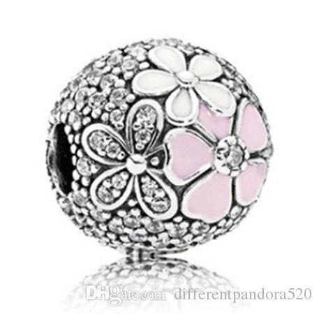 Pandora 925 ayar gümüş bilezik pembe emaye manolya kristal dangle boncuk charms avrupa için yılan charm zincir moda diy jewelr