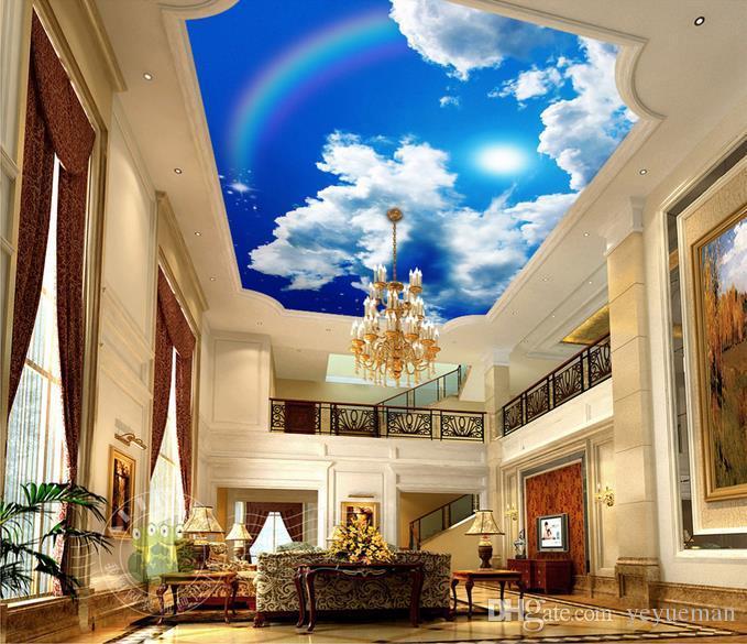 Индивидуальные 3D небо потолок обои голубое небо белые облака солнце Радуга 3d фото потолок стены фрески обои для гостиной 3D потолок