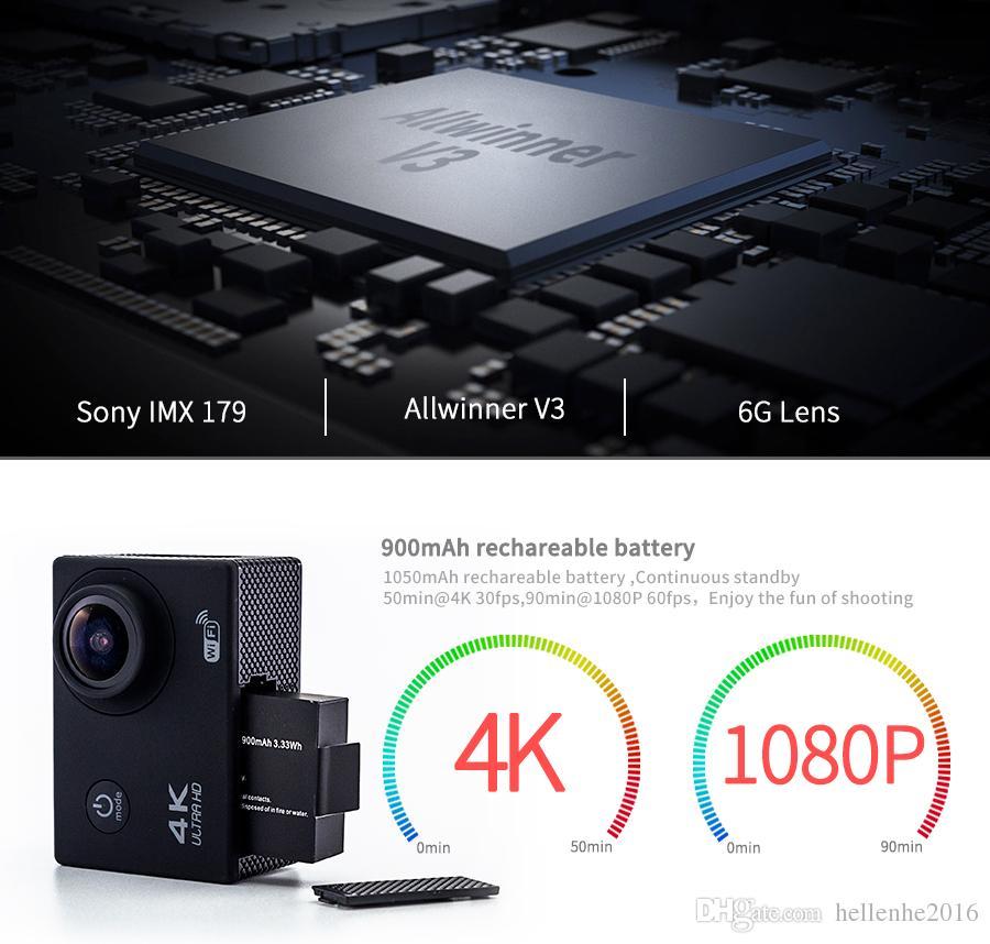 Ultra HD 4K / 30fps Action Kamera 30m wasserdicht 2,0 'Bildschirm 1080P 16MP Fernbedienung Sport Wifi Kamera extreme HD Helm Camcorder Auto Cam