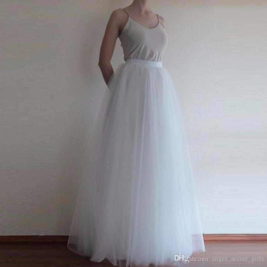 3fee2d44d02 2019 High Quality Pure White Tulle Skirt Personalized A Line Floor Length  Full Length Skirt Simple Classical Long Maxi Skirts Women From  Angel secret girls