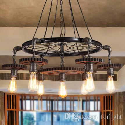 Discount Pendant Lighting Creative Gear Chandelier Personalized Retro American Style Industrial Iron Chandeliers Theme Restaurant Loft Cafe Club Bar Ceiling ... & Discount Pendant Lighting Creative Gear Chandelier Personalized ... azcodes.com