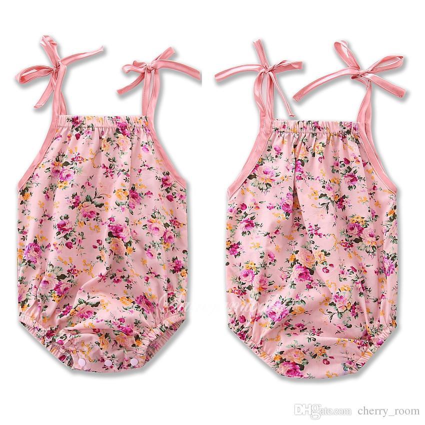 a6e5d873a4d Summer Baby Girls Rompers Floral Onesies Bowknot Belt Shoulder ...