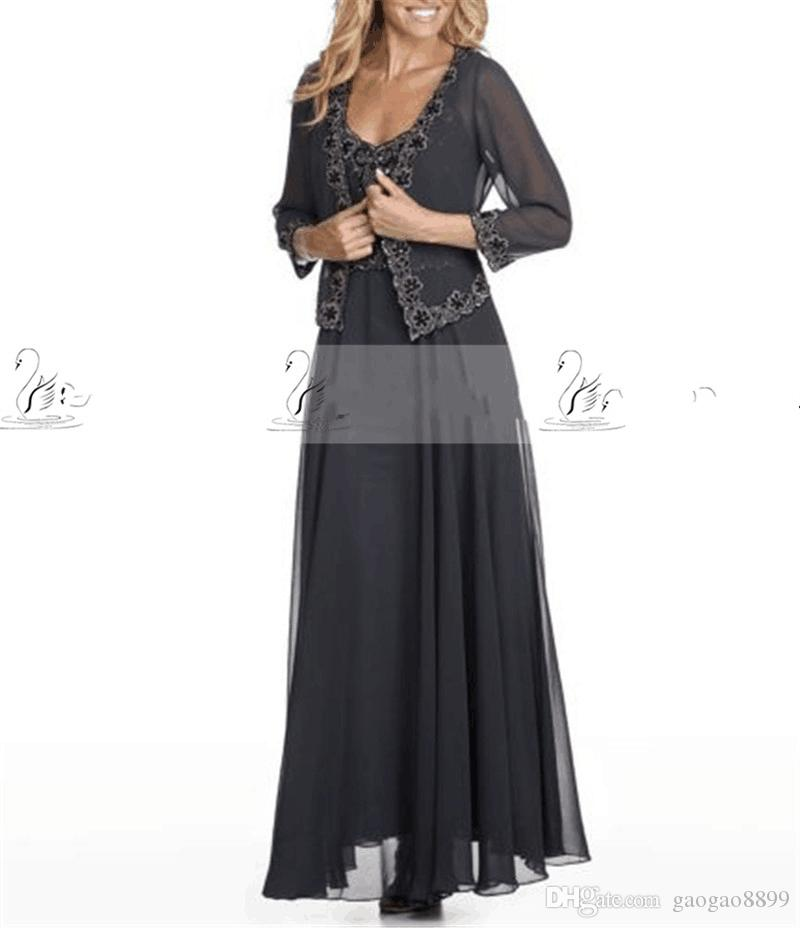 2017 Chiffon Cheap Mother Of The Bride Dresses Lace Collar Sleeveless With  Jacket Custom Made Formal Evening Dresses Groom Mother Dress Long Sleeve  Mother ... 12e227884a57