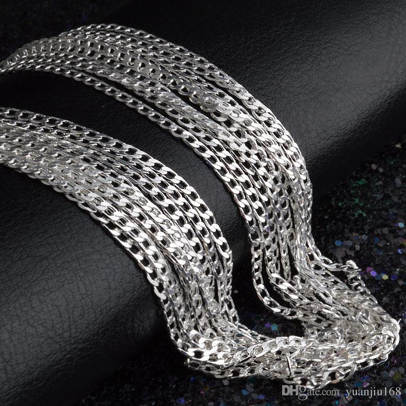 Hombre mujer Collar 925 chapado en plata 2 mm Collar de cadena lateral 16 pulgadas / 18 pulgadas / 20 pulgadas / 22 pulgadas / 24 pulgadas / 26 pulgadas / 28 pulgadas / 30 pulgadas