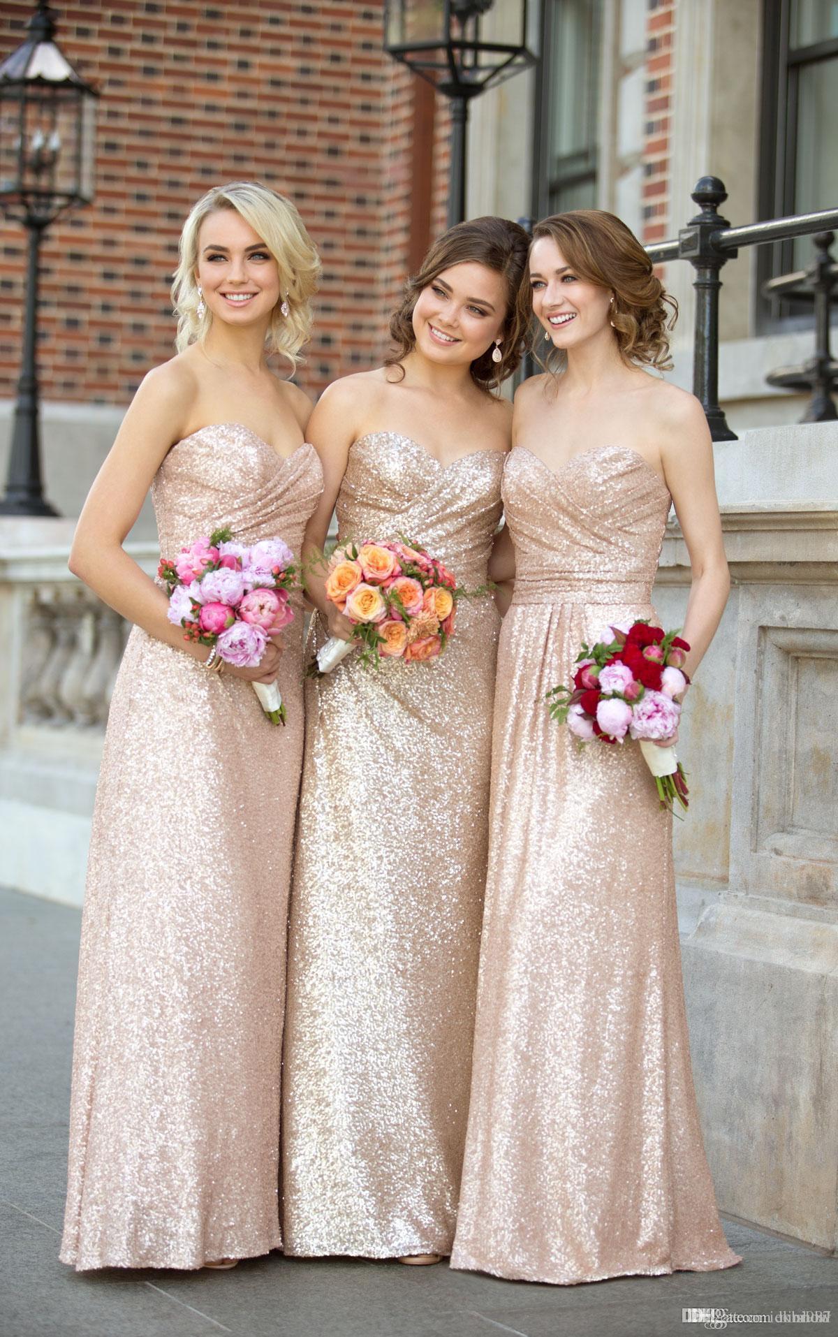Sevgiliye Straplez Gül Altın Pullu Gelinlik Modelleri 2017 Kadınlar Için Bir Çizgi Kılıf Elbiseler Ucuz Uzun Kat Uzunluk Düğün Konuk elbise