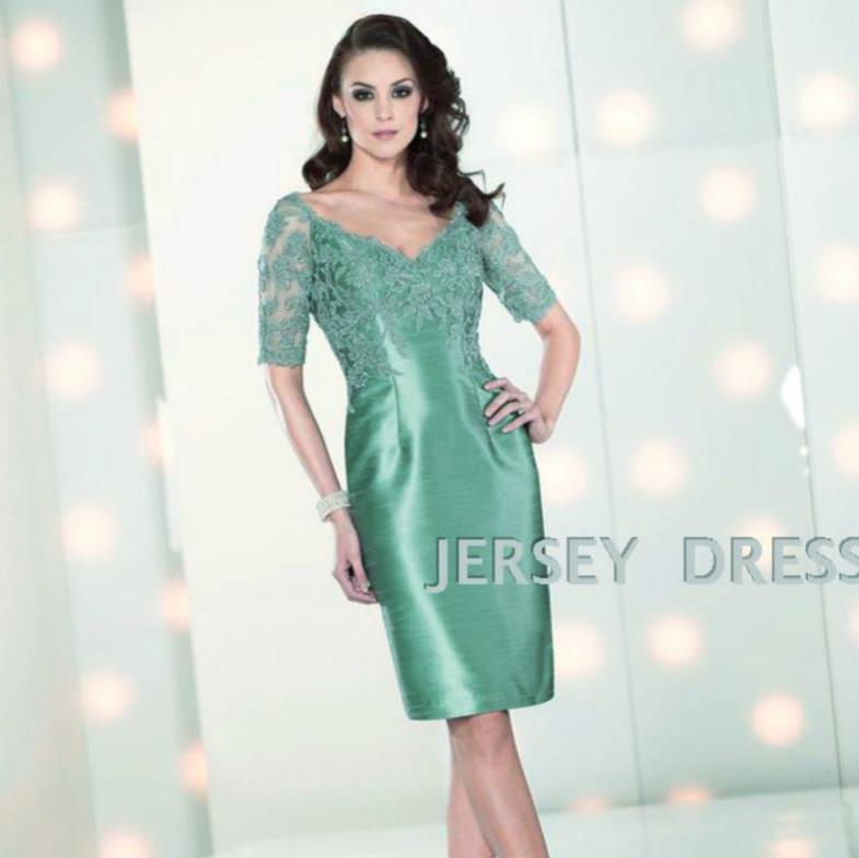 dinner dress 2018 short design v-neck half sleeve brides maid dresses lace green pink Mother of the Bride Dresses