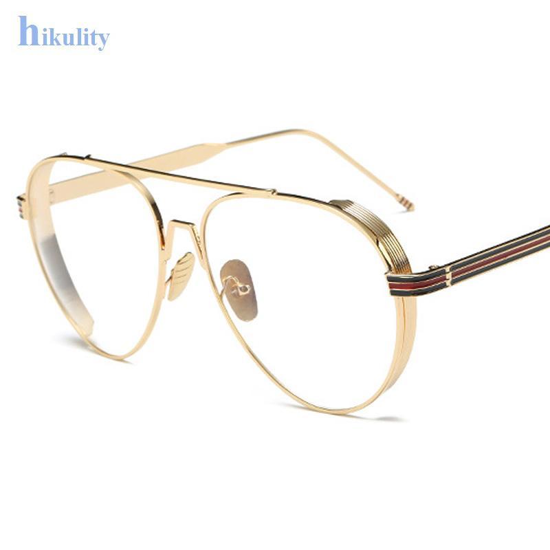acc8d59e298 Wholesale Gold Clear Glasses Frame Myopia Frame Glasses Women Men Spectacle Frame  Clear Lens Optical Aviation Glasses Clear Men Lunette Round Sunglasses ...