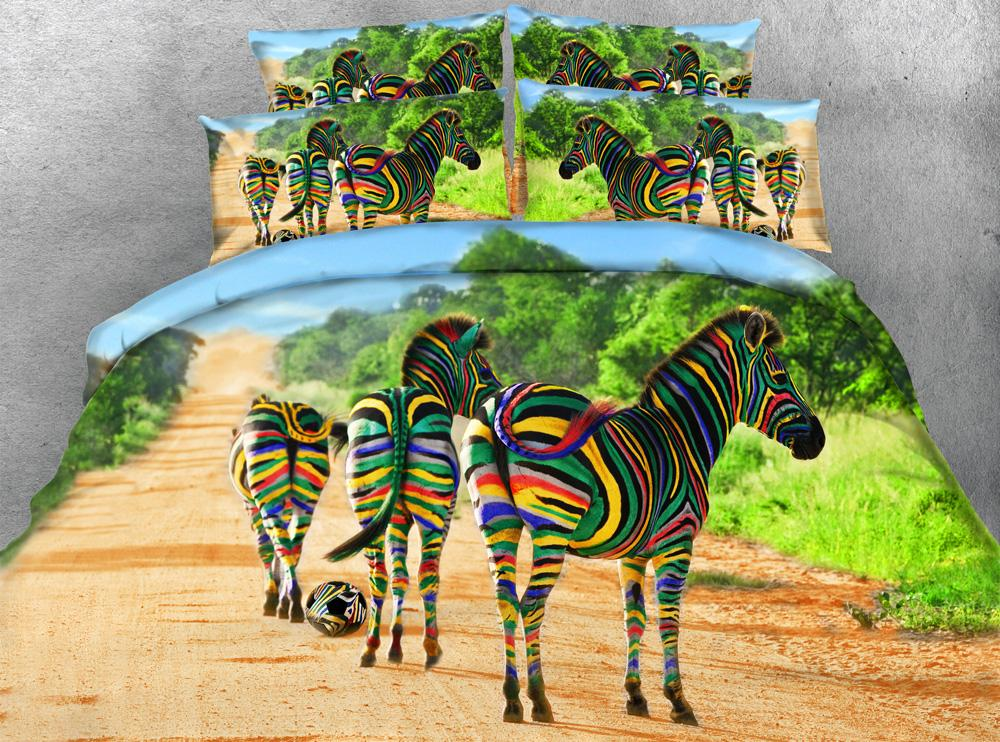 Großhandel Heißer Verkauf Mode Bunte Gestreifte Zebra Wald 3d