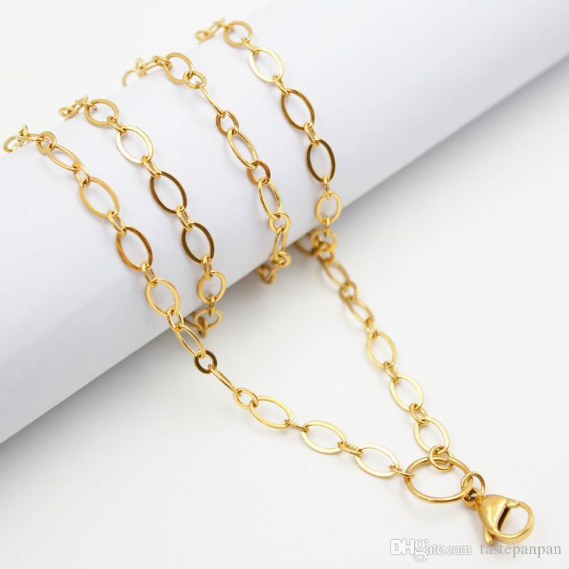 """Panpan Jewelry! 32"""" 80cm stainless steel large flat oval link custom chain floating locket necklace chain"""